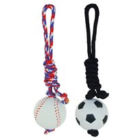 Hundleksaker Rubberball Sport with Long Rope